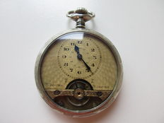8-day men's pocket watch – open balance – floral decoration, approx. 1900
