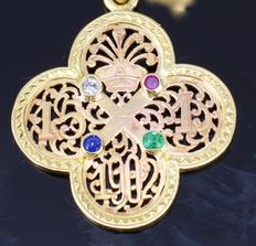 18 kt gold pendant with diamond, ruby, emerald, sapphire and 14 kt gold chain, pendant from 1902