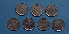 Belgium - 2 Franc 1923/1930 French and Flemish (7 different pieces) complete including 2 overstruck coins