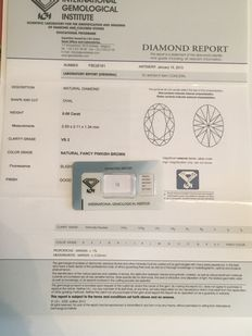 Natural fancy pinkish brown diamond with certificate (0.06 ct, VS2) ***** Low reserve price *****