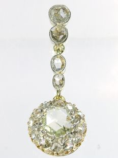 Diamond gold dangling pendant - circa 1900