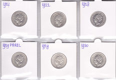 The Netherlands – ½ guilder 1921/1930 Wilhelmina (six different ones, complete) – silver