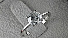 0.93 ct round diamond ring made of 14 kt white gold *** no reserve price ***