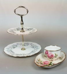"""Royal Albert - cake stand """"Silver Maple"""", sugar bowl and tray """"Anniversary Rose"""""""