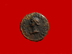 Roman Empire - Domitian (81 - 96 A.D.) bronze quadrans (2,51 g. 16 mm.), Rome, 85 A.D. Ceres / Modius full of grain ears.