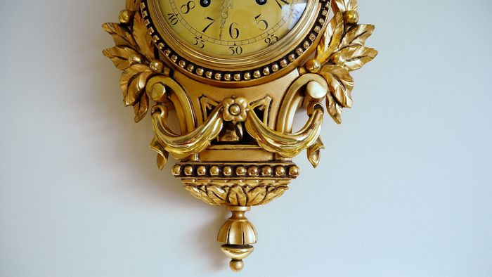 Swedish Westerstrand Gold Rococo Carved Cartouche Wall Clock the