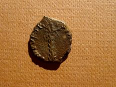 Roman Empire - Vespasian (69-79 A.D.) bronze quadrans (2,10 g. 14 mm), Rome mint, 72-73 A.D. Palm three / Vexillum. Rare.