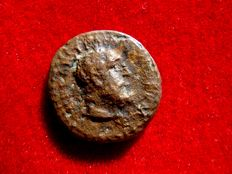 Roman Empire - Trajan (98-117) bronze quadrans (2,45 g. 15 mm.), Rome mint. Traian bust with lionskin as Hercules, club in reverse. Scarce.