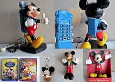 Disney, Walt - 6 assorted items - including telephone + 2 figures + keychain + 2 DVDs - Mickey Mouse (1990s/'00s)