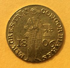 The Netherlands - gold ducat 1806 with Russian strike.