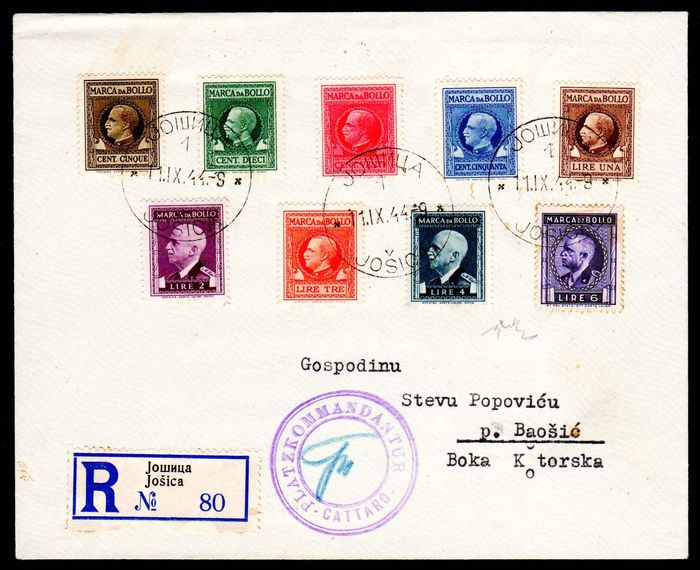 "Italy - 1944 - ""Kotor Notausgabe"" - stamps from Italy 5 cent to 6 lire on cover - Sassone 15-19 signed."