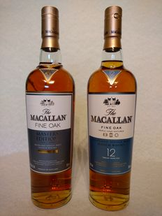 2 bottles - Macallan Master Edition (bottled 2007) & Fine Oak 12 years old