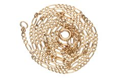 Yellow gold, fine Figaro link necklace in 14 kt. Length: 47 cm