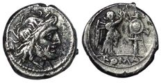 Roman Republic - Anonymous Issues - AR plated? Victoriatus - Rome mint, c. 211 BC - Head Jupiter / Victory - RIC 44/1