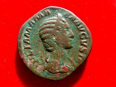 Roman Empire - Julia Mamaea (222 - 235 A.D.), bronze sestertius (21,90 g. 30 mm), from Rome mint, 230 A.D. FELICITAS PVBLICA.
