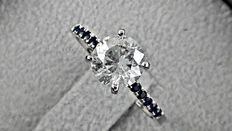 1.72 ct  round diamond ring made of 14 kt white gold *** no reserve price***