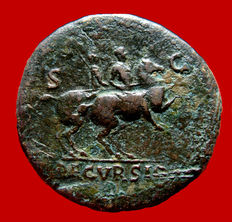 Roman empire - Nero (54 - 68 A.D.) bronze sestertius ( 22,13 g. 35mm.) from Lugdunum mint. AD 67. DECVRSIO. Emperor on horseback riding right, soldier on horseback right.