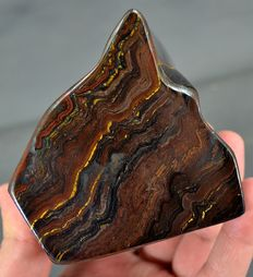 Striking multi-coloured Tiger's Eye tumble - 120 x 95 x 83mm - 1167gm