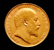 United Kingdom. Sovereign minted in the year 1907, during the reign of Eduard VII Gold coin.