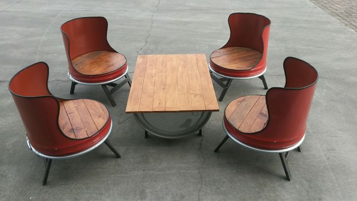 Design Table And Chairs Made Of Oil Barrels And Wood Catawiki