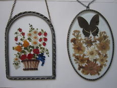 """Wonderful stained glass window panel  """"Forest Flowers"""" and dried butterflies and flowers in stained glass - 20th century"""