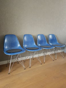 """Charles & Ray Eames by Herman Miller – four """"DSR fibreglass' bucket seats"""