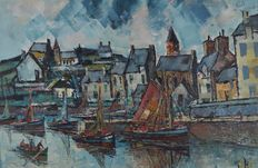 Attrib. George Hann. (1900-1979) -The town harbour with fishing boats.