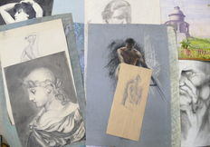 Lot of 18 academic drawings of various subjects-early 20th century