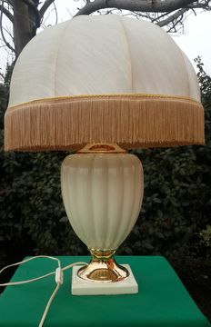 Large ceramic lamp in white ivory and gold trim with lampshade-Italy, 20th cent.