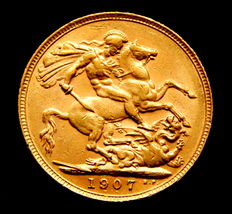 United Kingdom - Gold sovereign coin, King Edward VII, year 1907.