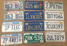12 American license plates, Washington, Montana, Colorado and California