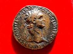 Roman Empire - Domitian (81-96 A.D.), bronze sestertius (26,33 g. 32 mm.), Rome mint, 95-96 A.D. IOVI - VICTORI, Jupiter seated l., holding sceptre and Victory.