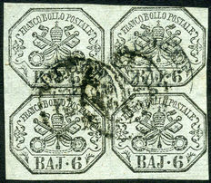 1852 – Papal States – 6 bajocchi in sets of four – Sassone no. 7a