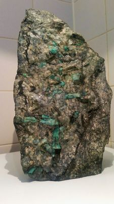 Emerald crystals (approx. 35) on matrix - 320 x 220 x 120 mm - 10.45 kg