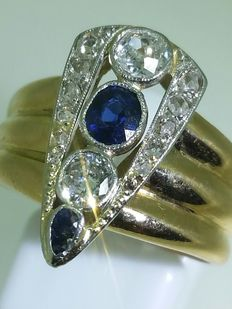Two-tone gold ring with sapphires and diamonds