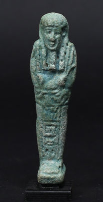Egyptian faience Ushabti for the Overseer of Necropolis Sematawy Tanetneferher - 110 mm