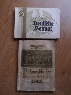 "3 Collector's Albums: ""Deutsche Heimat"" and ""Ruhmesblätter Deutscher Geschichte"" and  ""Deutsche Volkstrachten"" - all complete"