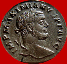Roman Empire -  Maximianus I Herculius (285 - 310 A.D.) bronze large follis (10,19 g. 25 mm.). Trier mint, A / Γ. TR. GENIO POPVLI ROMANI.