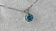 1.01 ct blue round diamond pendant in 14 kt white gold