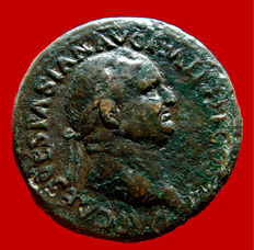 Roman Empire - Vespasian (69 - 79 A.D.) orichalcum sestertius (24,88 g. 33 mm.) from Rome mint. ROMA. S/C. Scarce