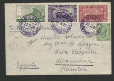 Italy:  1926 – Saint Francis – 3 stamps cancelled on envelope from Milan to Alexandria of Egypt