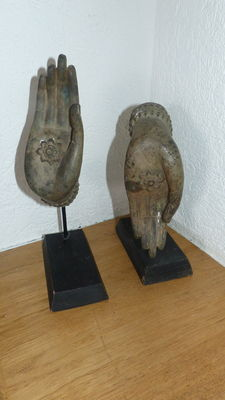 Two bronze Buddha hands – Thailand – Late 20th century