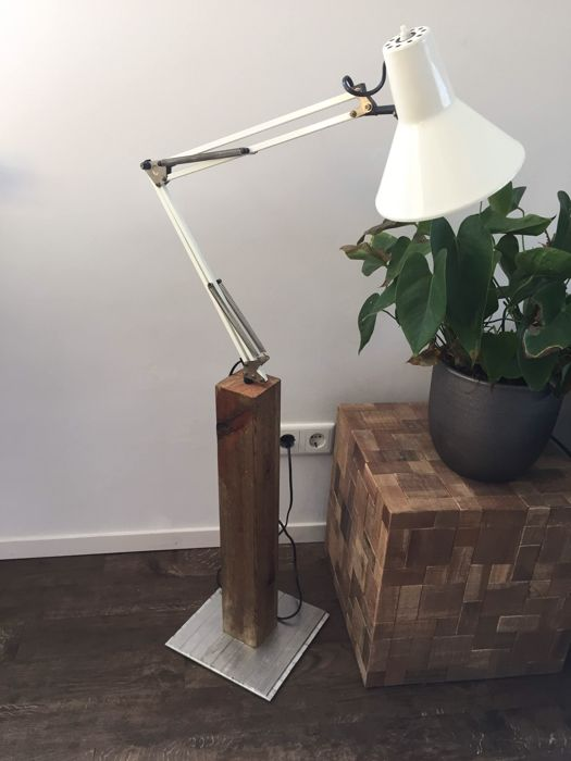 Vintage Architects Lamp On A Wooden Stand