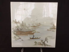 Japanese porcelain Kutani tile – Japan – first half of the 20th century