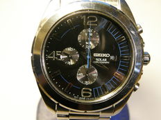 "seiko boxed ""solar powered"" men's chronograph with date  model: V176"
