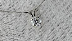 0.56 ct round diamond pendant in 14 kt white gold *** no reserve price ***