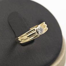 Yellow gold ring with brilliant cut diamond – Ring size: 11 (Spain)
