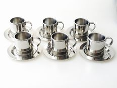 Meber Italy - set of 6 espresso cups and saucers with timeless design.