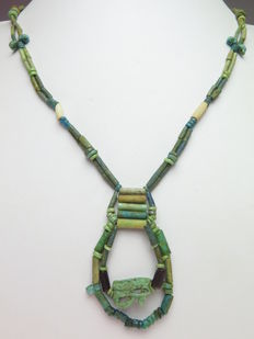 Egyptian faience beaded necklace and Horus amulet - 61 cm