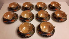 Lot of 10 cups and saucers - Japan - Satsuma - first half / mid 20th century.